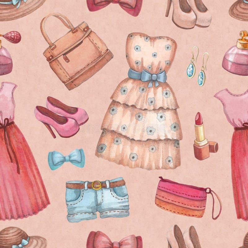 Akwareli akcesoria i suknie royalty ilustracja