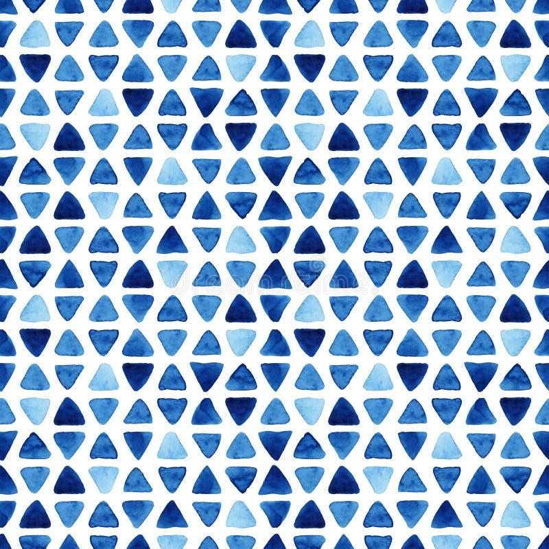 Akwareli błękita bezszwowy wzór z trójbokami ilustracji