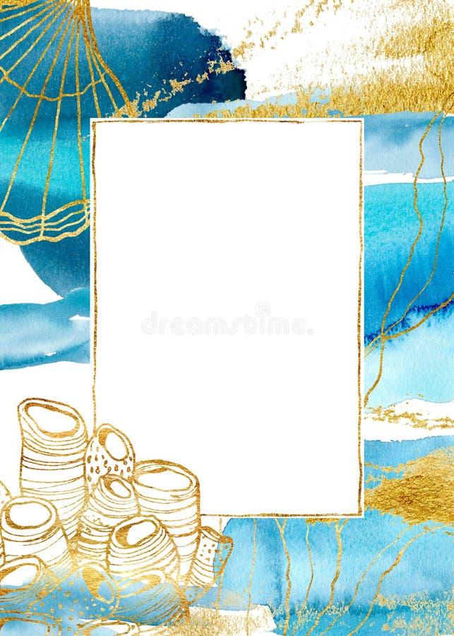 Akwareli błękita karta z podwodną rośliną Ręki malujący złoci granica, koral, skorupa i laminaria, rozgałęziamy się z liśćmi ilustracja wektor
