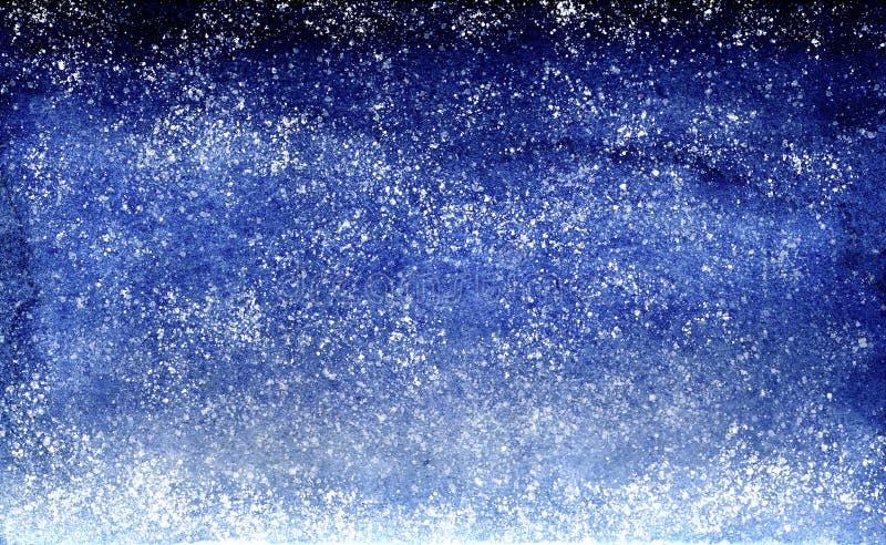 Akwareli błękita muśnięcia uderzeń tła projekta gradientowy nocne niebo z gwiazdami zdjęcia stock