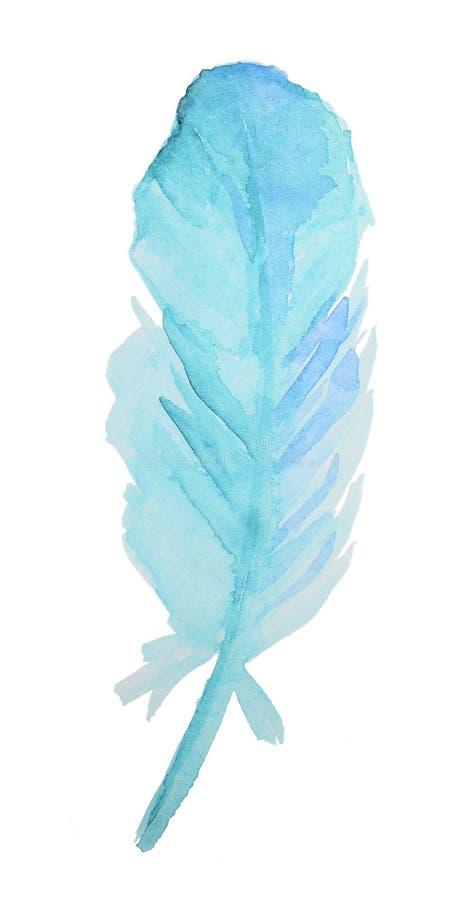 Akwareli błękita piórko ilustracji