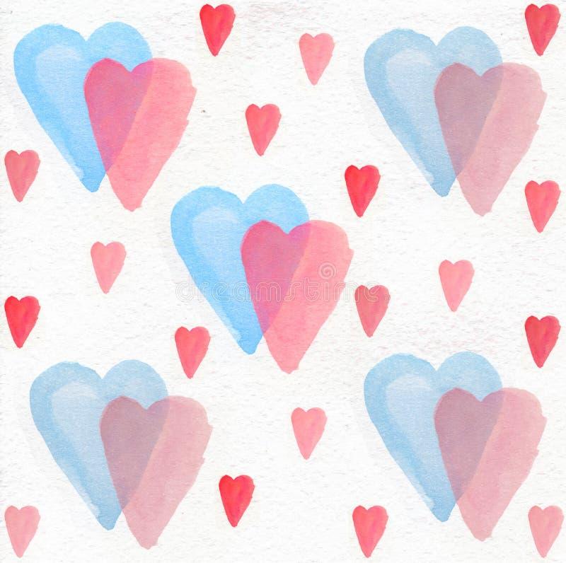 Akwareli błękita róży serca, akwareli serce, backroung serce ilustracji