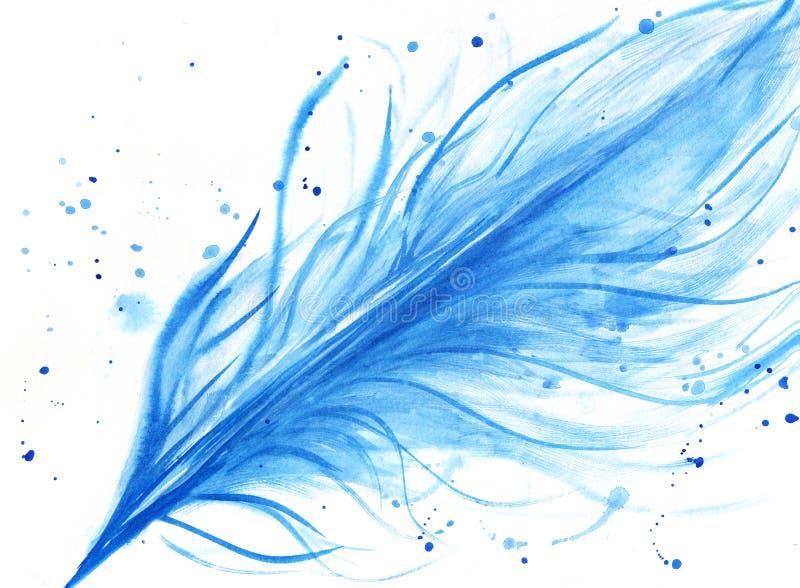 Akwareli błękita ręka rysujący piórko ilustracja wektor