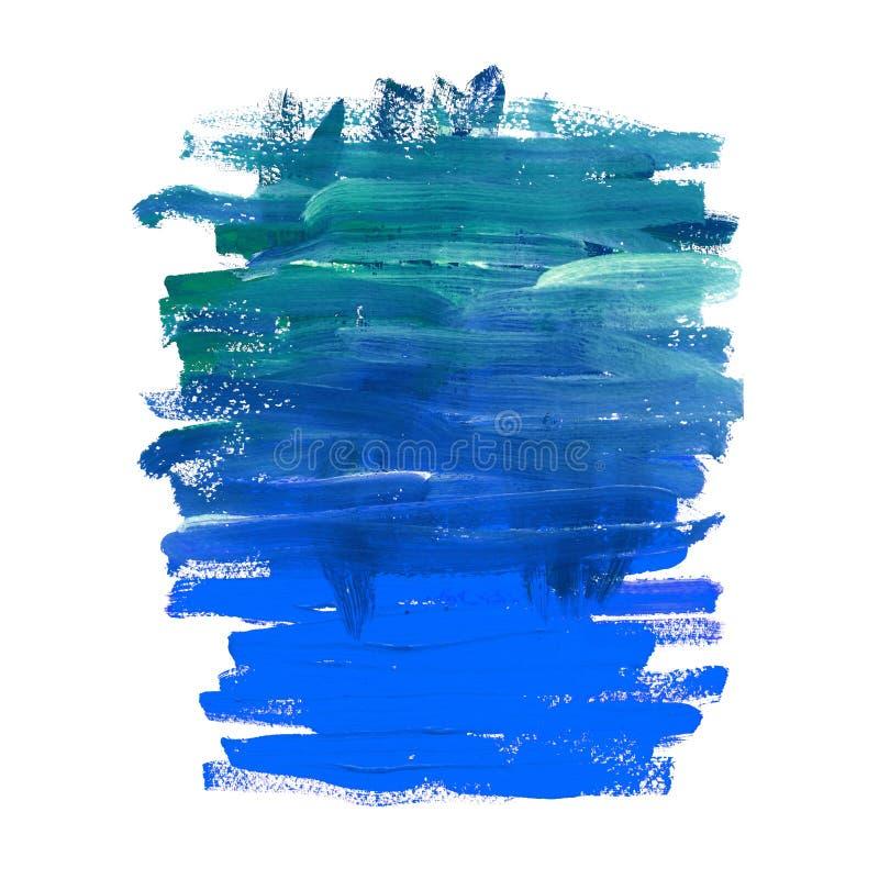 Akwareli błękitna i turkusowa abstrakcjonistyczna morska tekstura Akrylowej lub nafcianej farby lampasy i brushstrokes royalty ilustracja