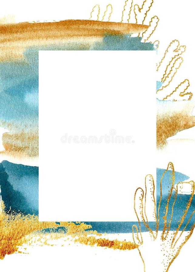 Akwareli błękitna pionowo karta z koralem Ręka malująca złota granica Morska ilustracja dla projekta, druk, tkanina lub royalty ilustracja