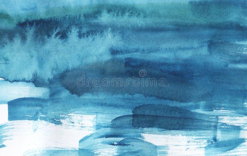 Akwareli błękitny jaskrawy abstrakcjonistyczny tło ilustracja wektor