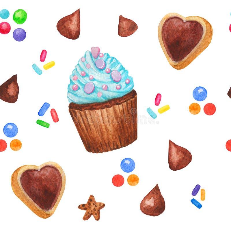 Akwareli babeczki cukierków bezszwowy wzór, czarodziejka tort odizolowywający na białym tle Słodka wyśmienicie ręka rysujący piek royalty ilustracja