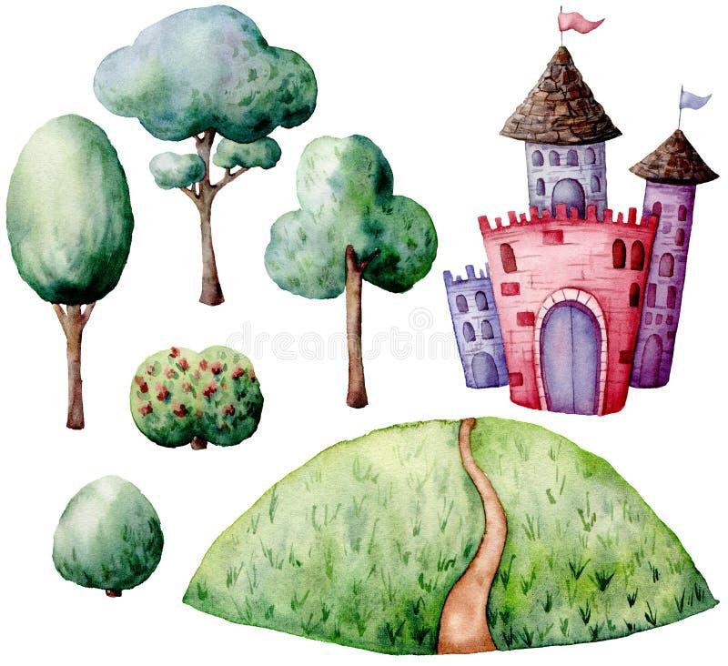 Akwareli bajki konstruktora set Ręka malujący zieleni krzaki i drzewa, roszują odosobnionego na białym tle Las royalty ilustracja