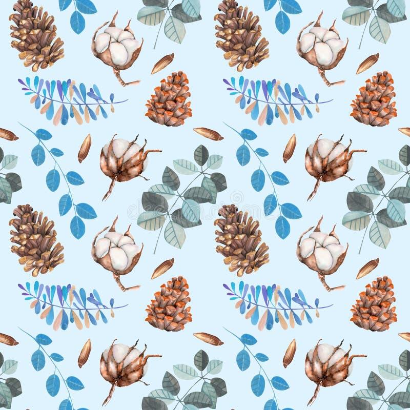 Akwareli bawełna kwitnie, sosna konusuje i błękit rozgałęzia się zima Bożenarodzeniowego bezszwowego wzór ilustracji