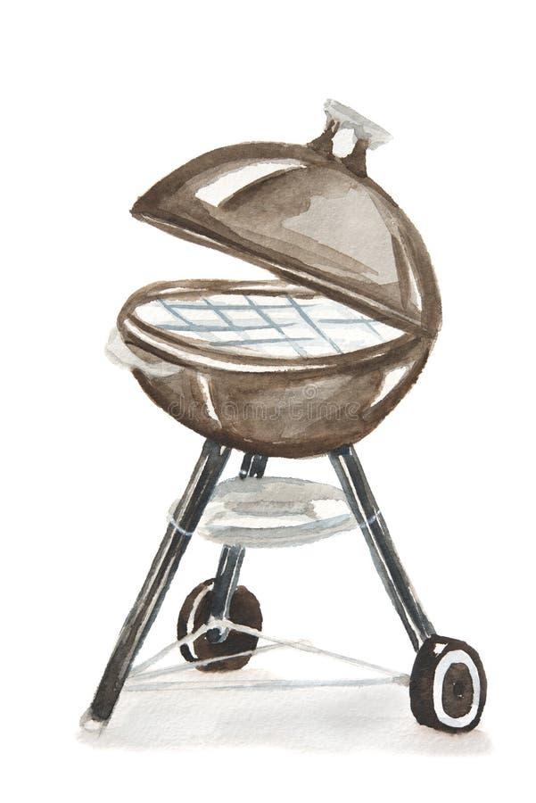 Akwareli bbq grill royalty ilustracja
