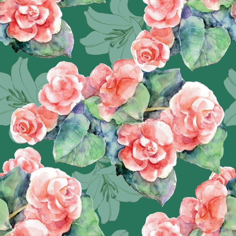 Akwareli begonia i grafiki leluja na zielonym tle bezszwowy wzoru ilustracji