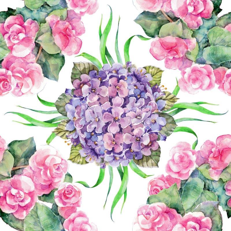 Akwareli begonia z hortensją na białym tle bezszwowy wzoru royalty ilustracja