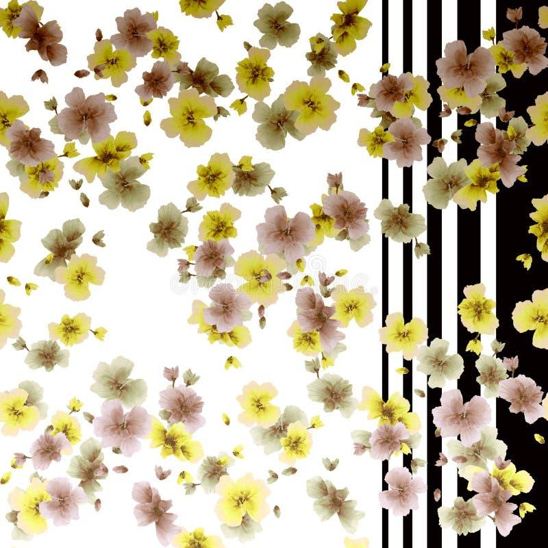 Akwareli bezszwowa deseniowa jesień kwitnie na białym i czarnym lampasa tle royalty ilustracja