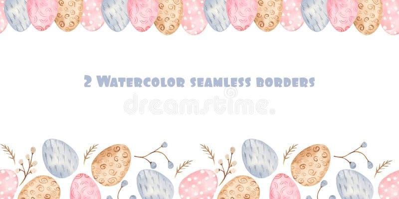 Akwareli bezszwowa granica z kolorowymi Wielkanocnymi jajkami i wierzbą royalty ilustracja