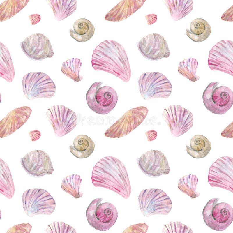 Akwareli bezszwowe menchie i beżowy skorupa wzór ilustracji