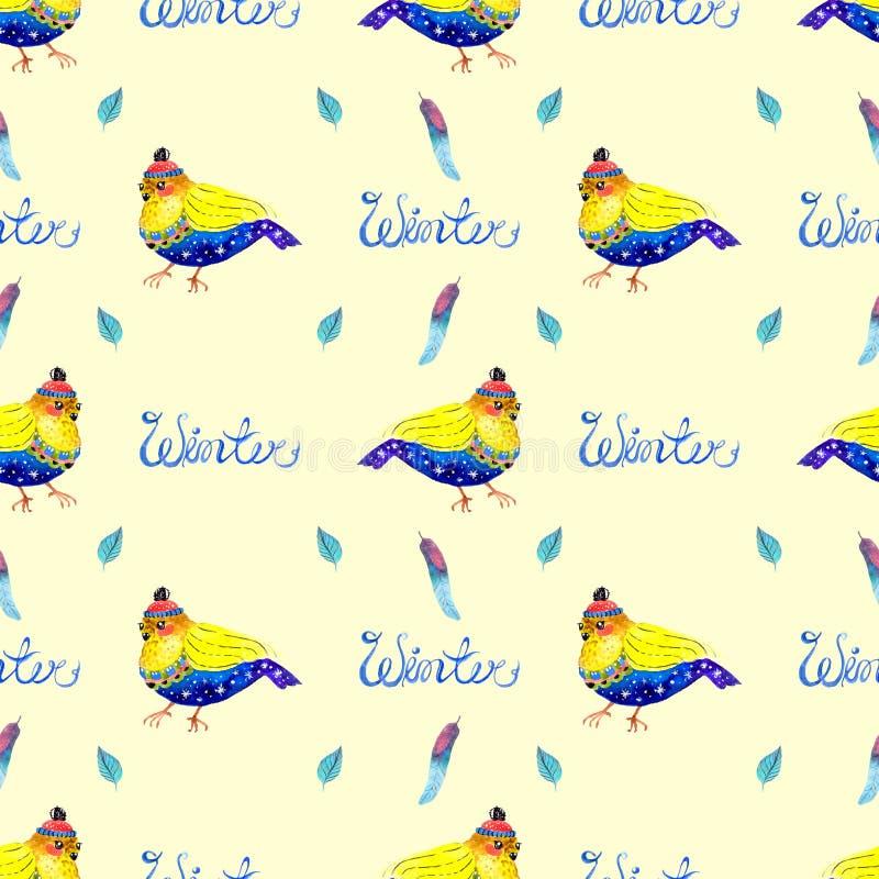 Akwareli bezszwowy tło z ptakiem ilustracja wektor
