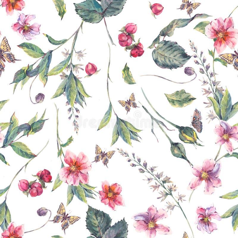 Akwareli bezszwowy tło z różowymi wildflowers royalty ilustracja