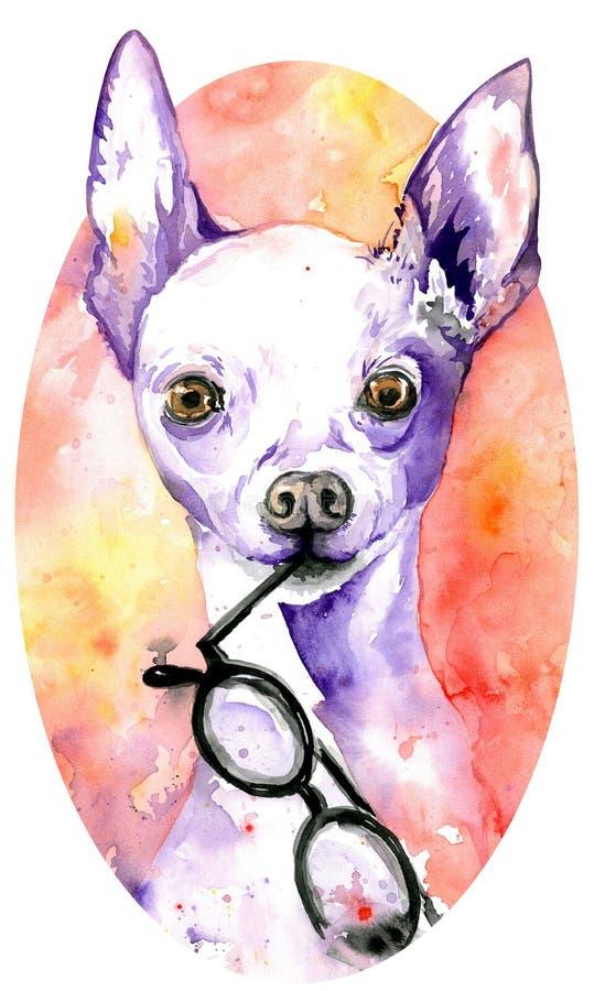 Akwareli biały doggy z szkłami w swój szczękach Pies z purpurowymi peaky ucho patroszonej twarzy ręki ilustracyjne s kobiety royalty ilustracja