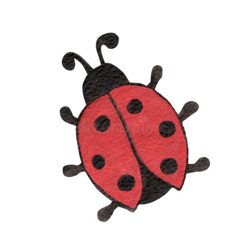 Akwareli biedronki insekta pojedynczy zwierzę odizolowywający na białym plecy royalty ilustracja