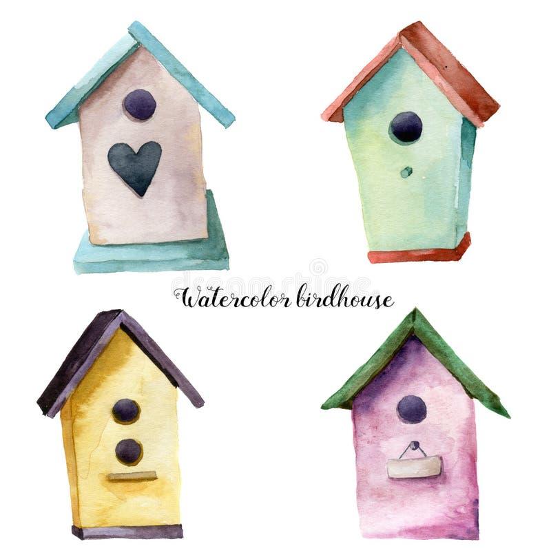 Akwareli birdhouse set Ręka malująca gniazdujący pudełko odizolowywającego na białym tle Dla projekta, druk, tkanina royalty ilustracja
