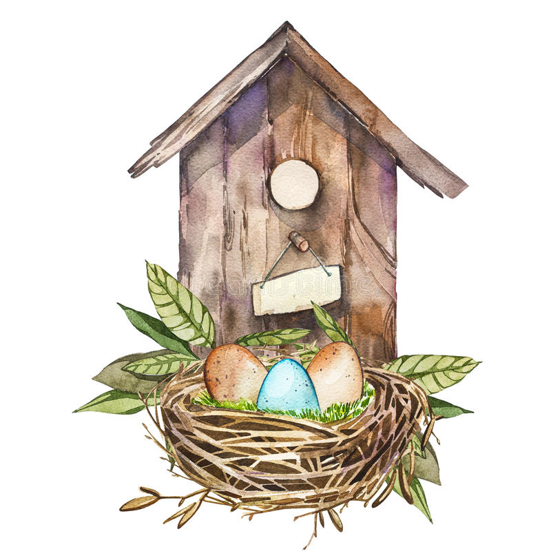 Akwareli birdhouse z wiosna kwiatami, jajka Ręka malująca gniazdujący pudełko odizolowywającego na białym tle Wielkanocny projekt ilustracji