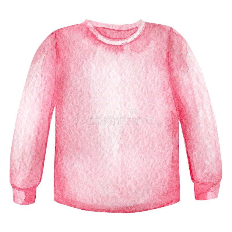 Akwareli bluzy sportowej nakreślenia dziecko odziewa Pulower dla dziewczyn Samotny marzn?cy drzewo ilustracja wektor