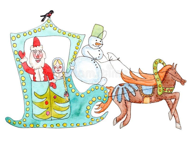 Akwareli boże narodzenia pocztówkowi z ojca mrozem, Śnieżną dziewczyną i saniem, ilustracja wektor