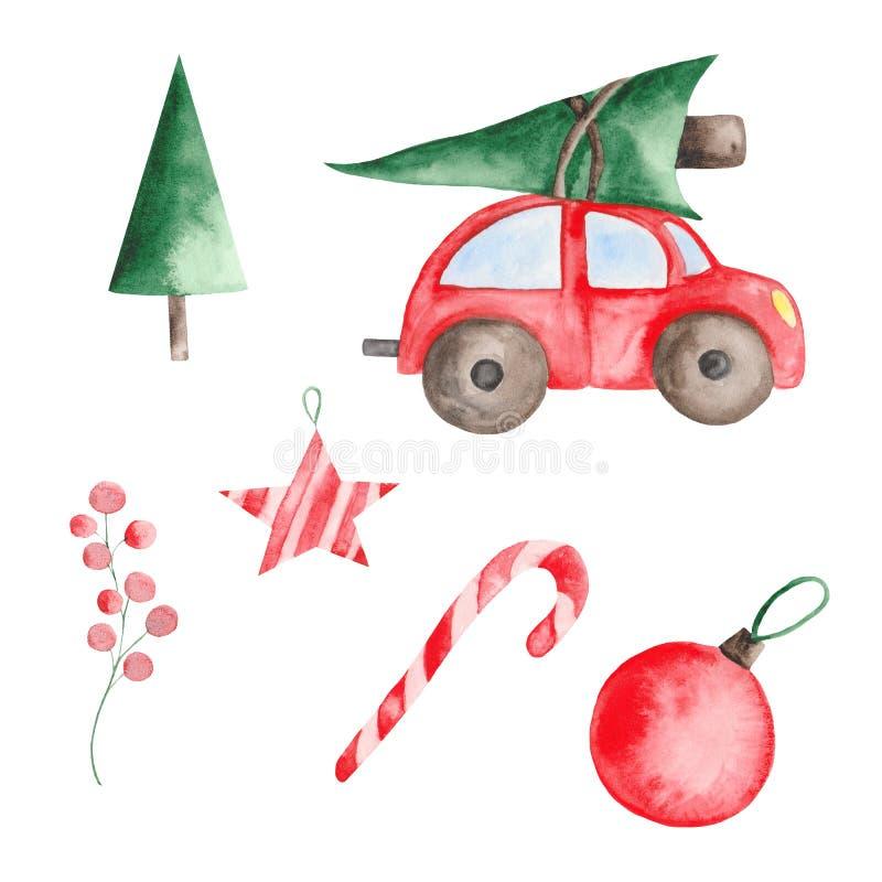 Akwareli boże narodzenia ustawiający z czerwonym samochodem, jedlinami, piłkami i cukierkami, ilustracja wektor