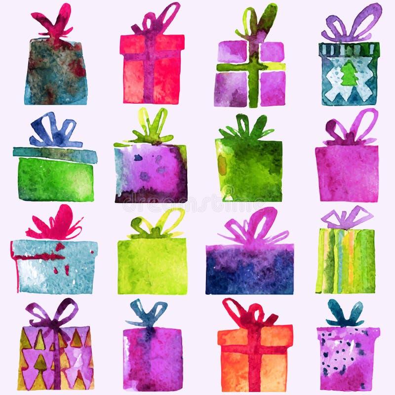 Akwareli Bożenarodzeniowy ustawiający z prezentów pudełkami na białym tle, zdjęcie royalty free