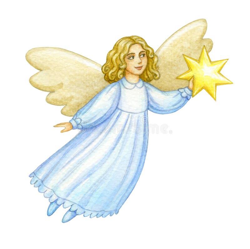 Akwareli bożych narodzeń anioł royalty ilustracja
