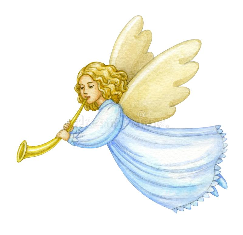 Akwareli bożych narodzeń anioł ilustracji