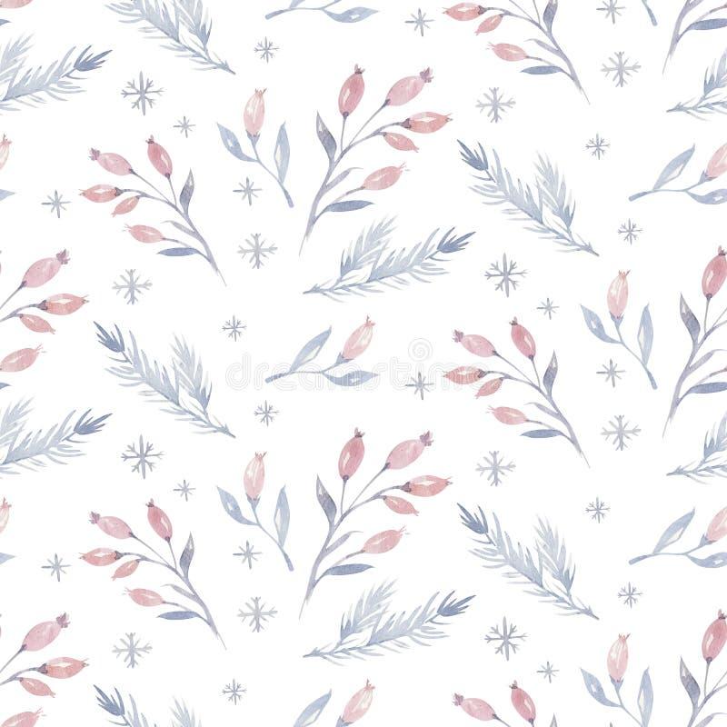 Akwareli bożych narodzeń bezszwowy wzór z kwiecistym lasowym drzewem, płatek śniegu, sosna rozgałęzia się Pingwin zimy śnieżna rę royalty ilustracja