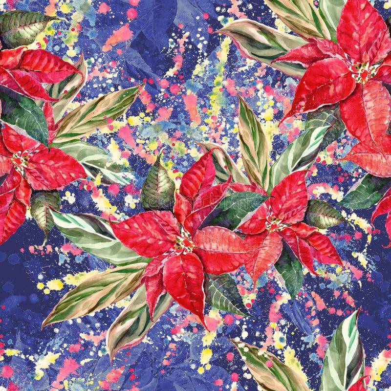 Akwareli bożych narodzeń bukiet Poinsecja z liści seamess wzorem ilustracja wektor