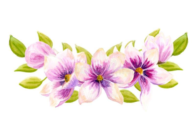 Akwareli boho kwieciści bukiety Watercolour artystyczna naturalna rama: liście, kwiaty, Odizolowywający na białym tle ilustracji