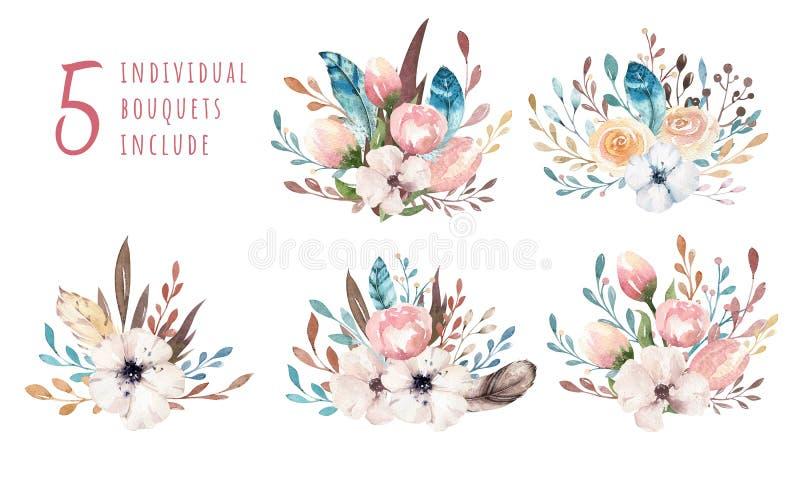 Akwareli boho kwiecista ilustracja Artystyczni wiosna kwiatu bukiety, wianki, przygotowania dla poślubiać, rocznica ilustracja wektor