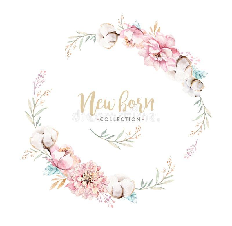 Akwareli boho kwiecisty wianek z bawełną Artystyczna naturalna rama: liście, piórka, kwiaty, Odizolowywający na bielu royalty ilustracja
