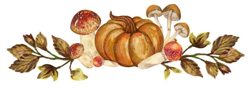 Akwareli botaniczna jesień i spadków lasowi elementy ustawiający wręczamy pa ilustracja wektor