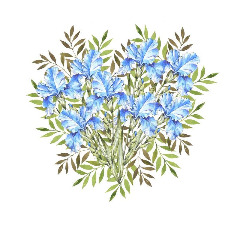 Akwareli botaniczny serce niebieskie irysy Zielony ulistnienie w formie serca 2007 pozdrowienia karty szcz??liwych nowego roku to ilustracja wektor