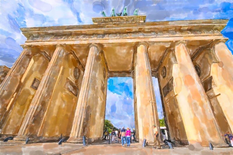 Akwareli Brandenburg ilustracyjna brama w Berlin ilustracja wektor