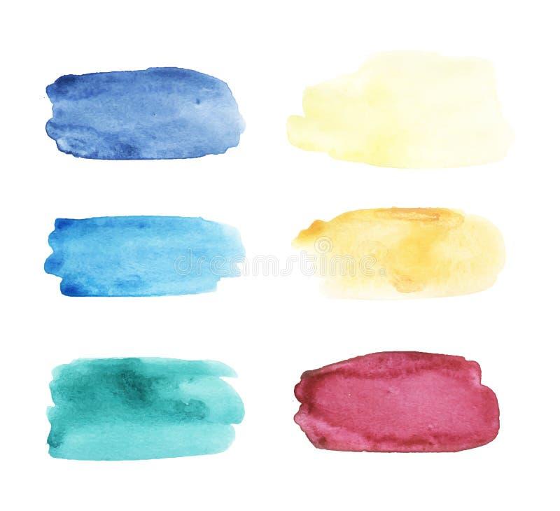 Akwareli brushstrokes ustawiający Wręcza patroszoną wektorową kolekcję z kolorowymi plamami, punkty, rozmazy, horyzontalny kształ ilustracja wektor