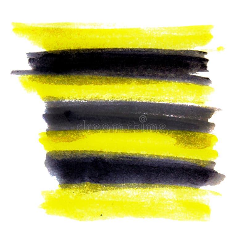 Akwareli brushwork jest żółty i czarny Kontrastować kolory ilustracja wektor