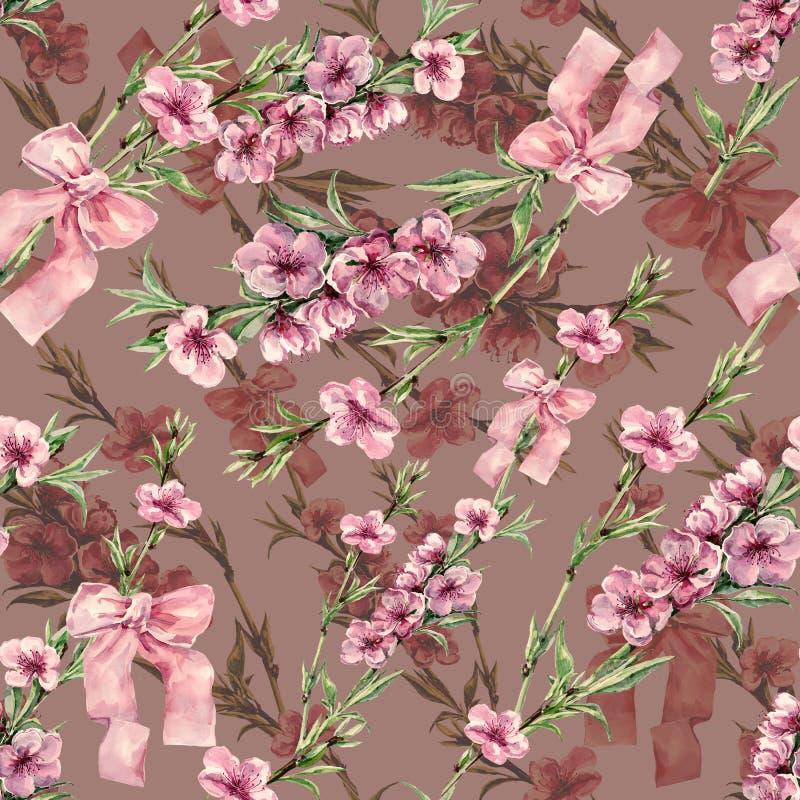 Akwareli brzoskwinia kwitnie z faborkiem Bezszwowy wzór na barwiącym tle ilustracji