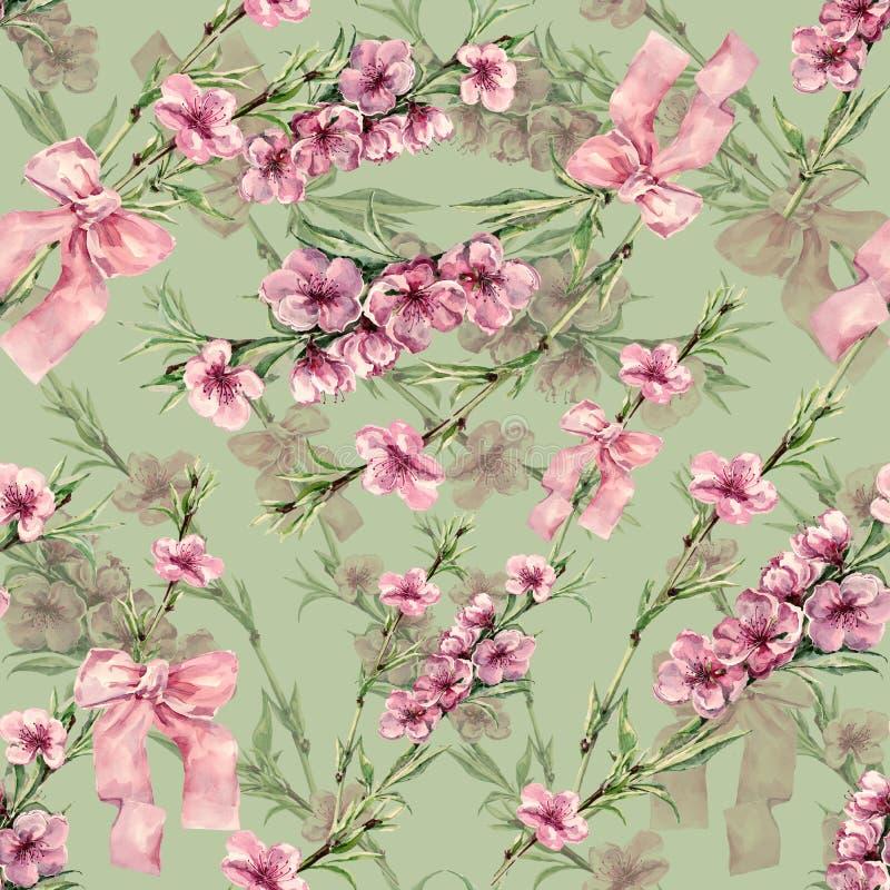 Akwareli brzoskwinia kwitnie z faborkiem Bezszwowy wzór na wapno zieleni tle ilustracja wektor