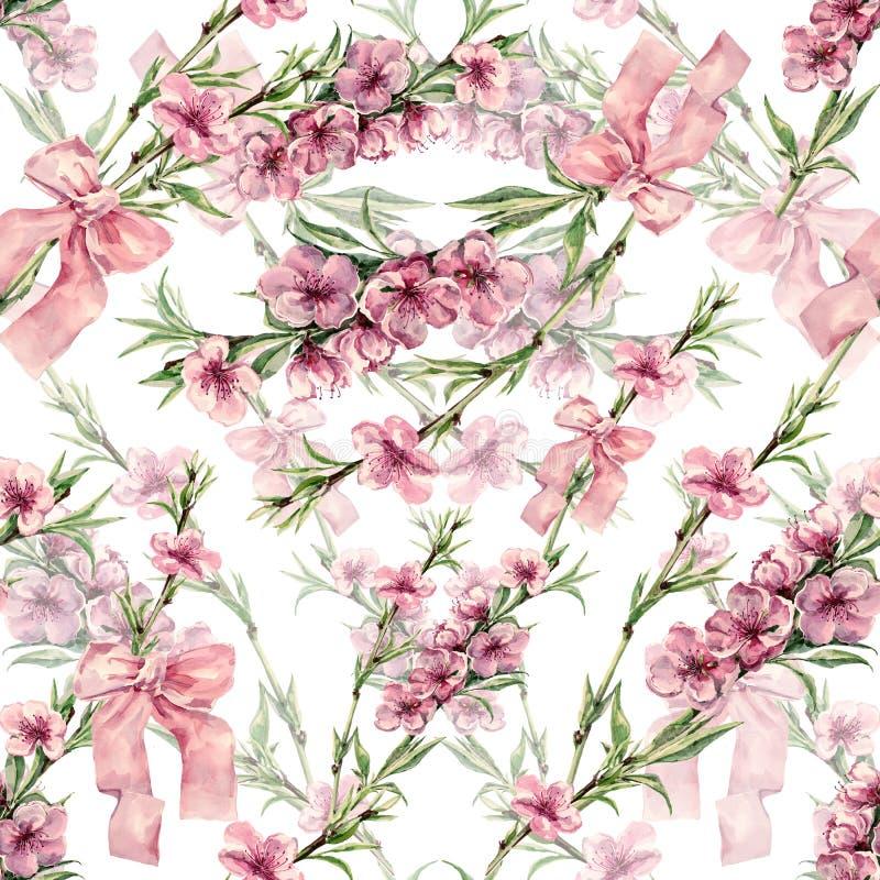 Akwareli brzoskwinia kwitnie z faborkiem Na biały tle bezszwowy wzór ilustracji