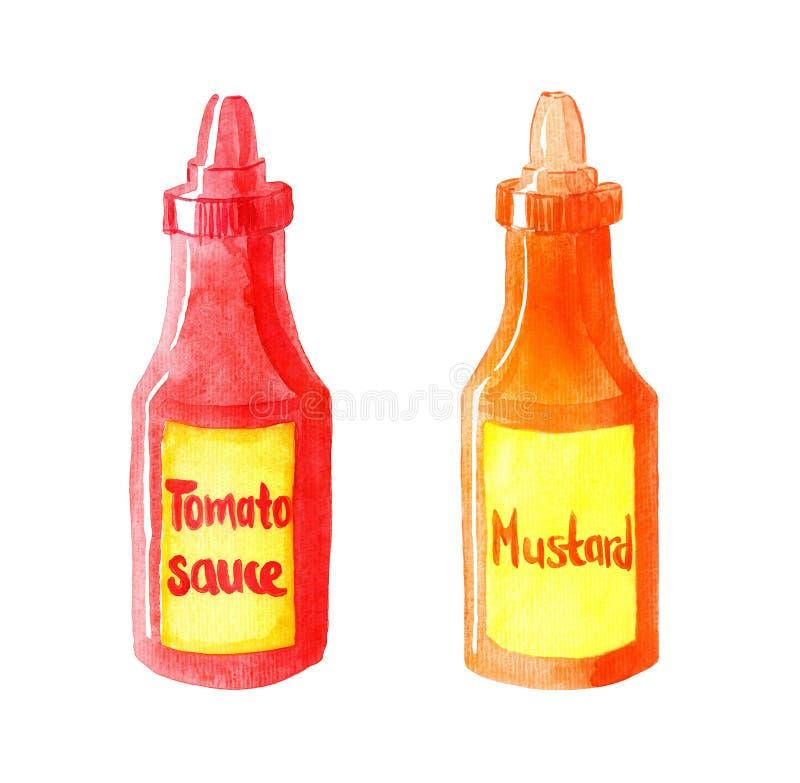 Akwareli butelki pomidorowy kumberland i musztarda royalty ilustracja