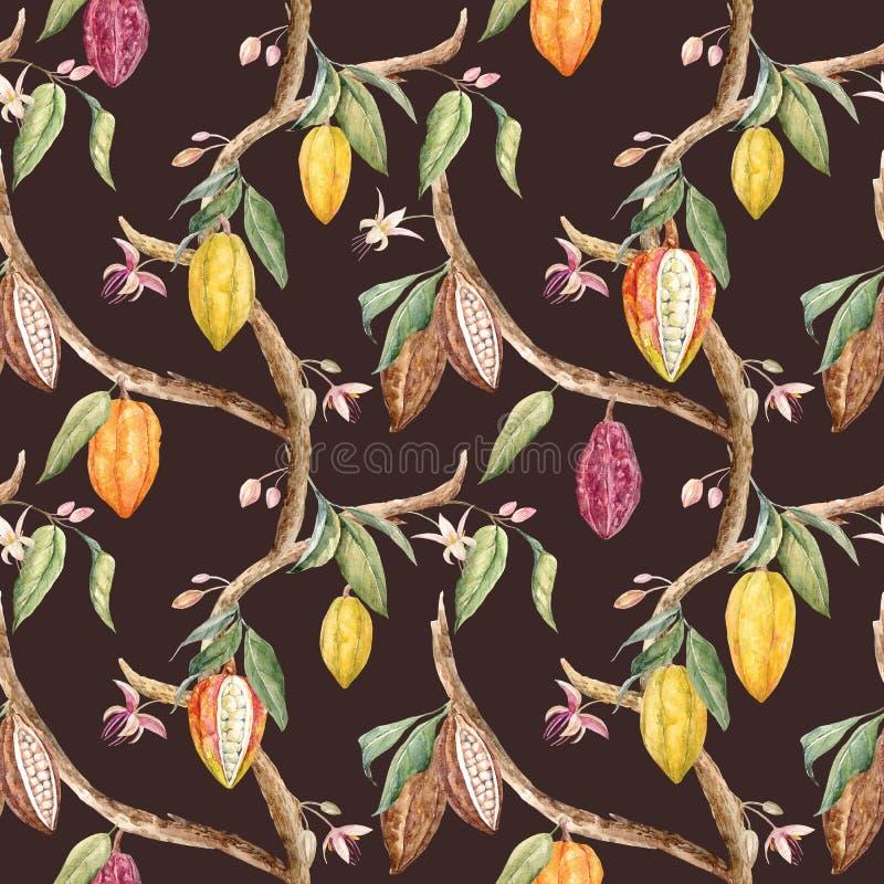 Akwareli cacao wzór ilustracja wektor