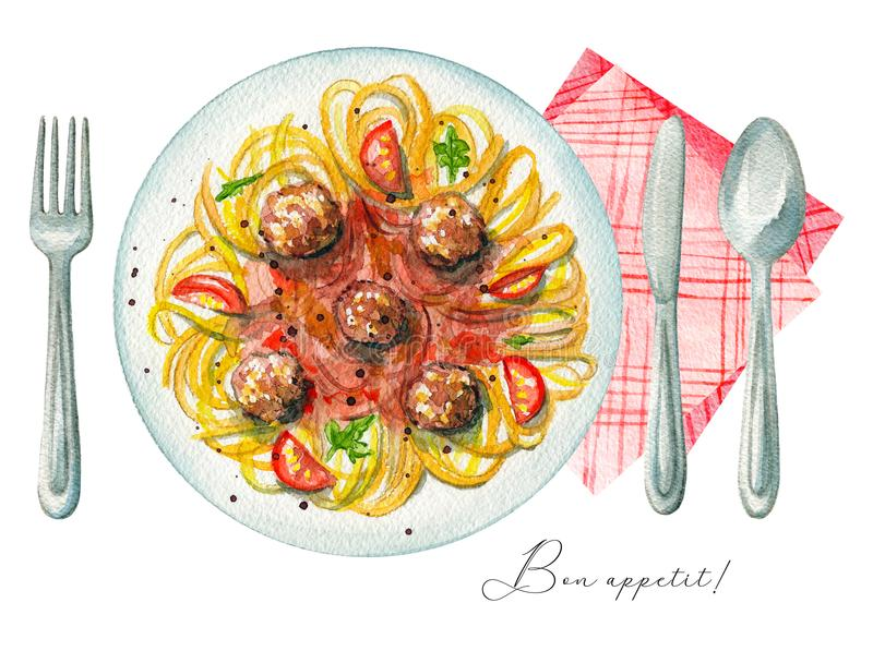 Akwareli carbonara pasta na talerzu, cutlery i pielusze, ilustracja wektor