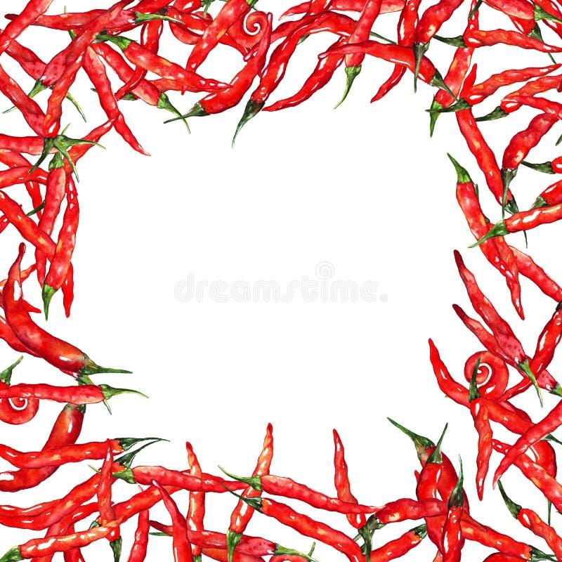 Akwareli chili gorący chili pieprzu ramy korzenna granica royalty ilustracja