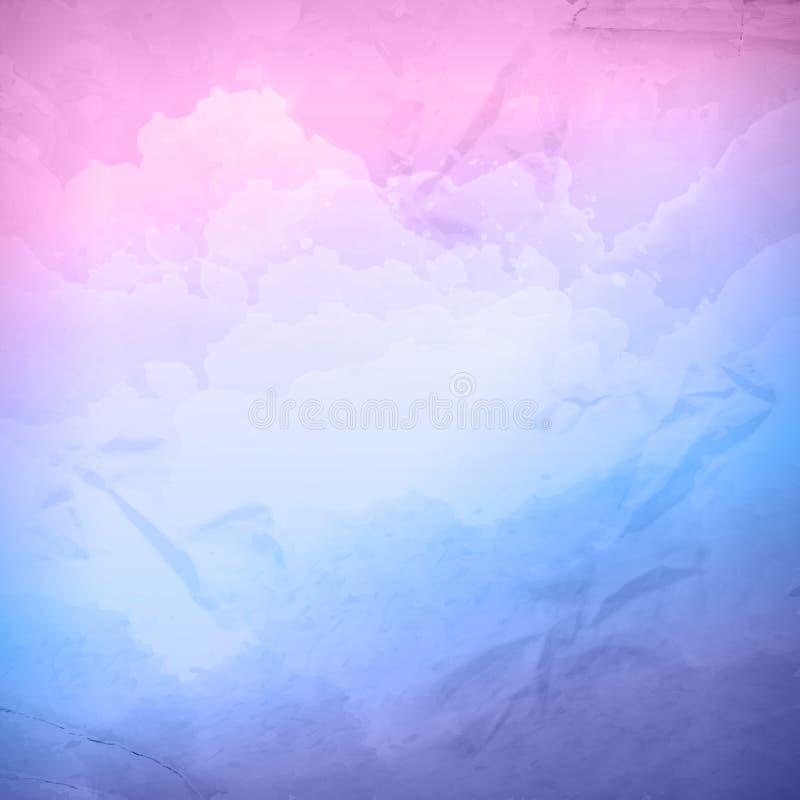 Akwareli chmurnego nieba wektorowy tło royalty ilustracja
