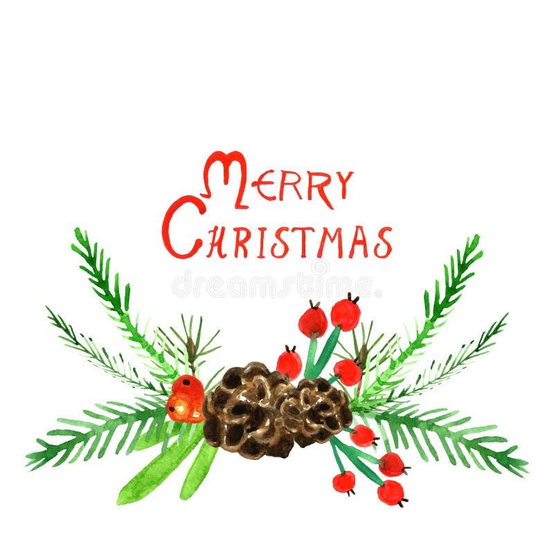 Akwareli choinka odizolowywająca Piękny świąteczny świerkowy drzewo z garlandHand rysującą akwareli kartką bożonarodzeniową z świ ilustracji